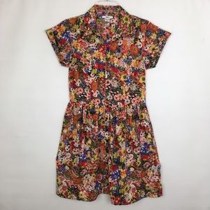 Bar III Floral Print Colorful Midi Button Up Dress